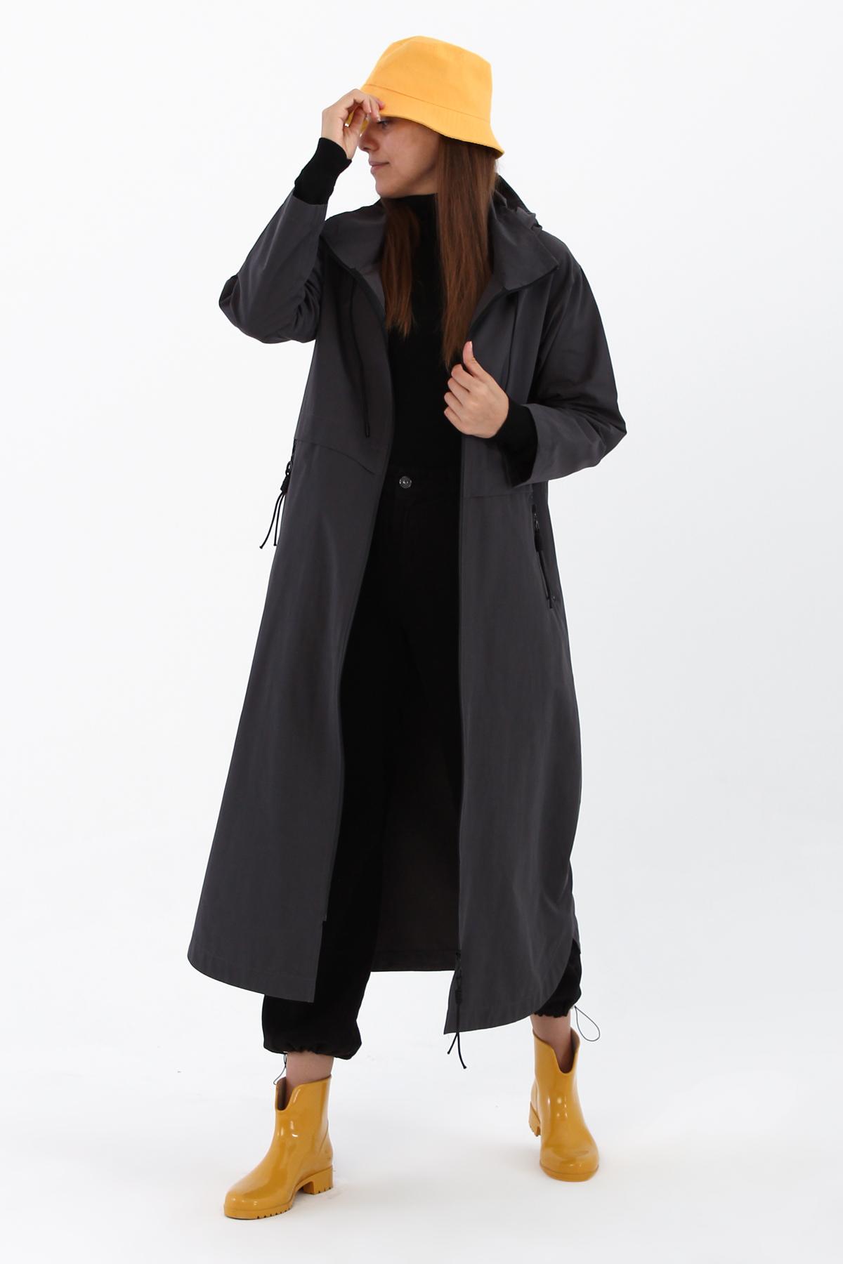 Hooded Zipper Front Trench Coat