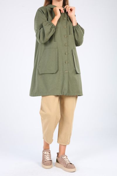 Hooded Pocket Buttoned Shirt Tunic