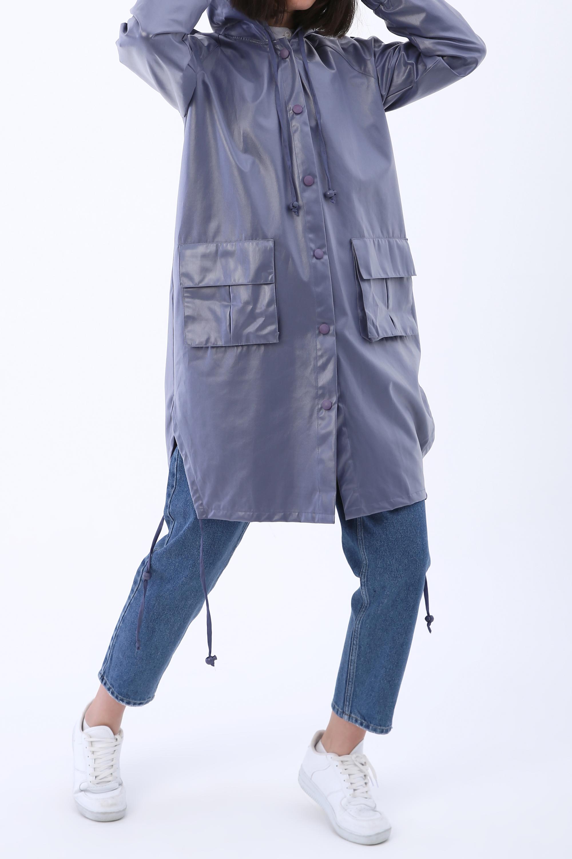 Hooded Flap Pocket Raincoat