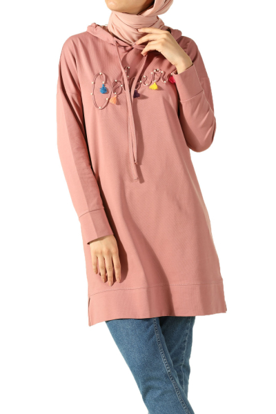 HOODED DROP SLEEVE TUNIC