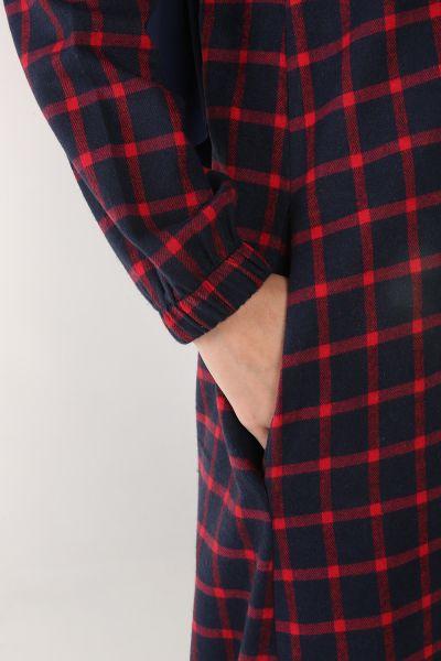 Kapüşonlu Düğmeli Ekose Gömlek