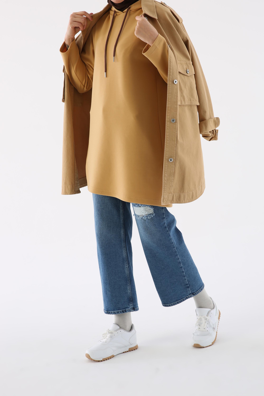 Hooded Asymmetric Hem Tunic
