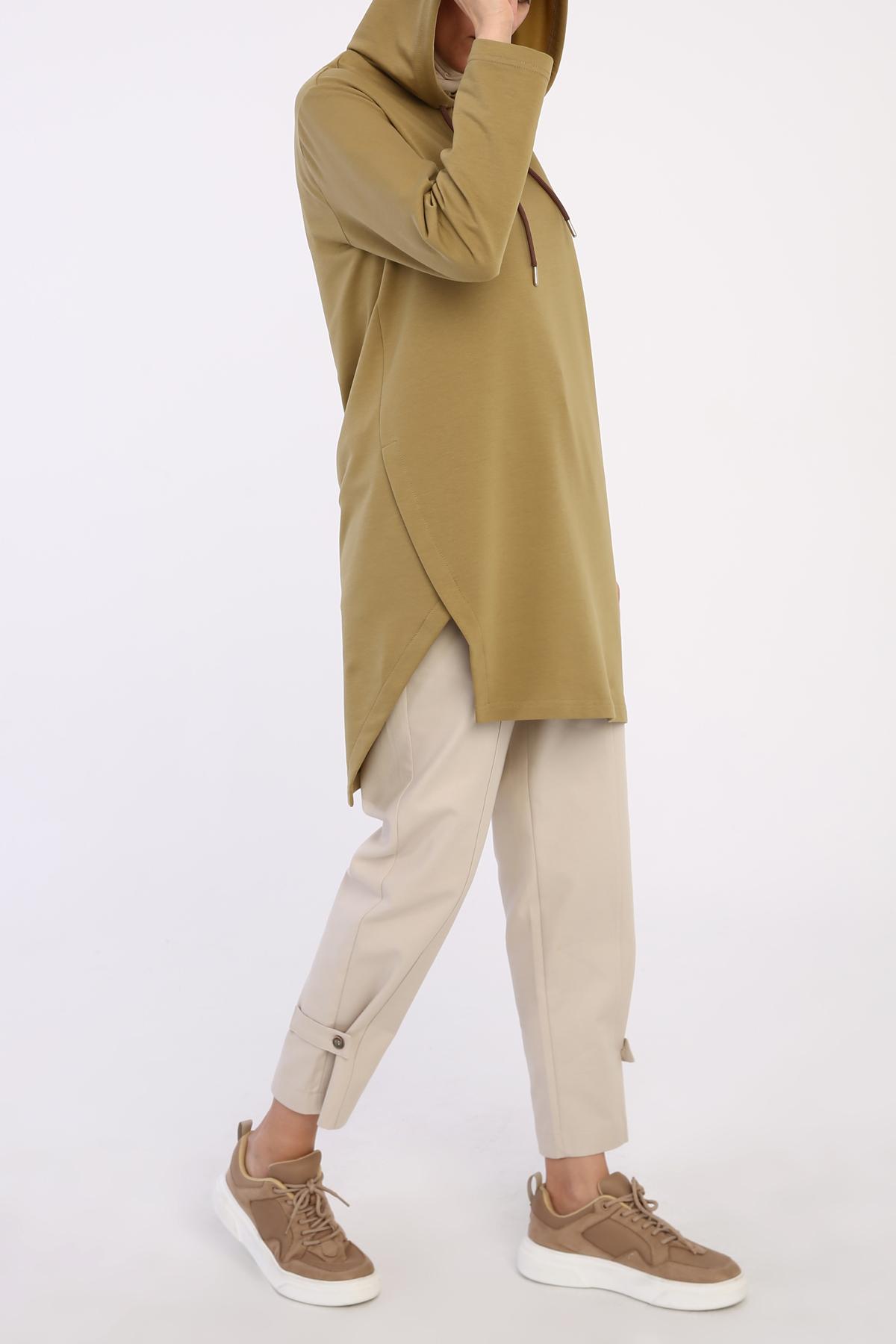 Asymmetric Hem Comfy Hooded Tunic