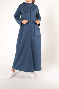 Elastic Waist Pocket Zippered Abaya