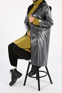 Hooded Zipper Detail Pocket Raincoat