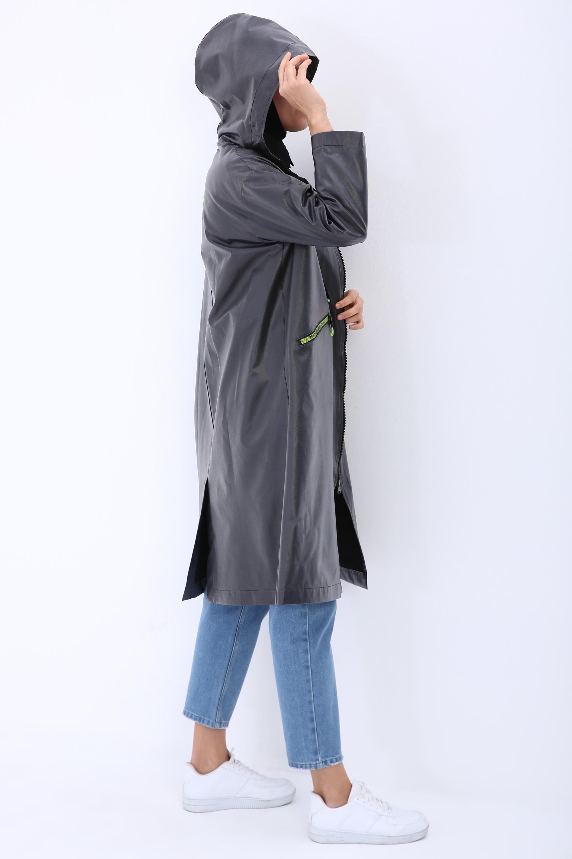 Hooded Zipper Detail Pocket Raincoat