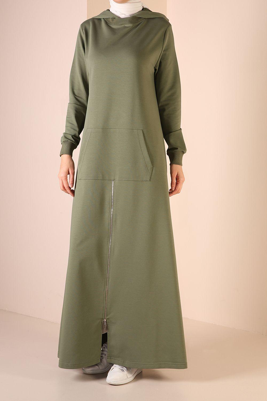 Kapüşonlu Fermuarlı Cepli Elbise