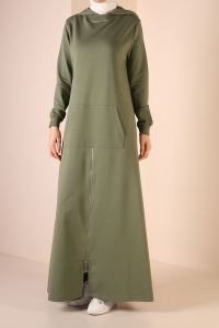 HOODED ZIPPERED DRESS