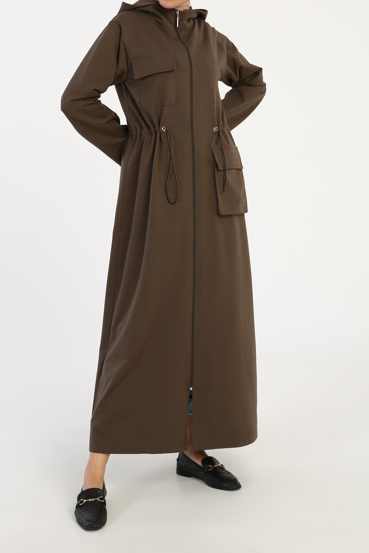 Elastic Waist Pocket Zippered Abaya