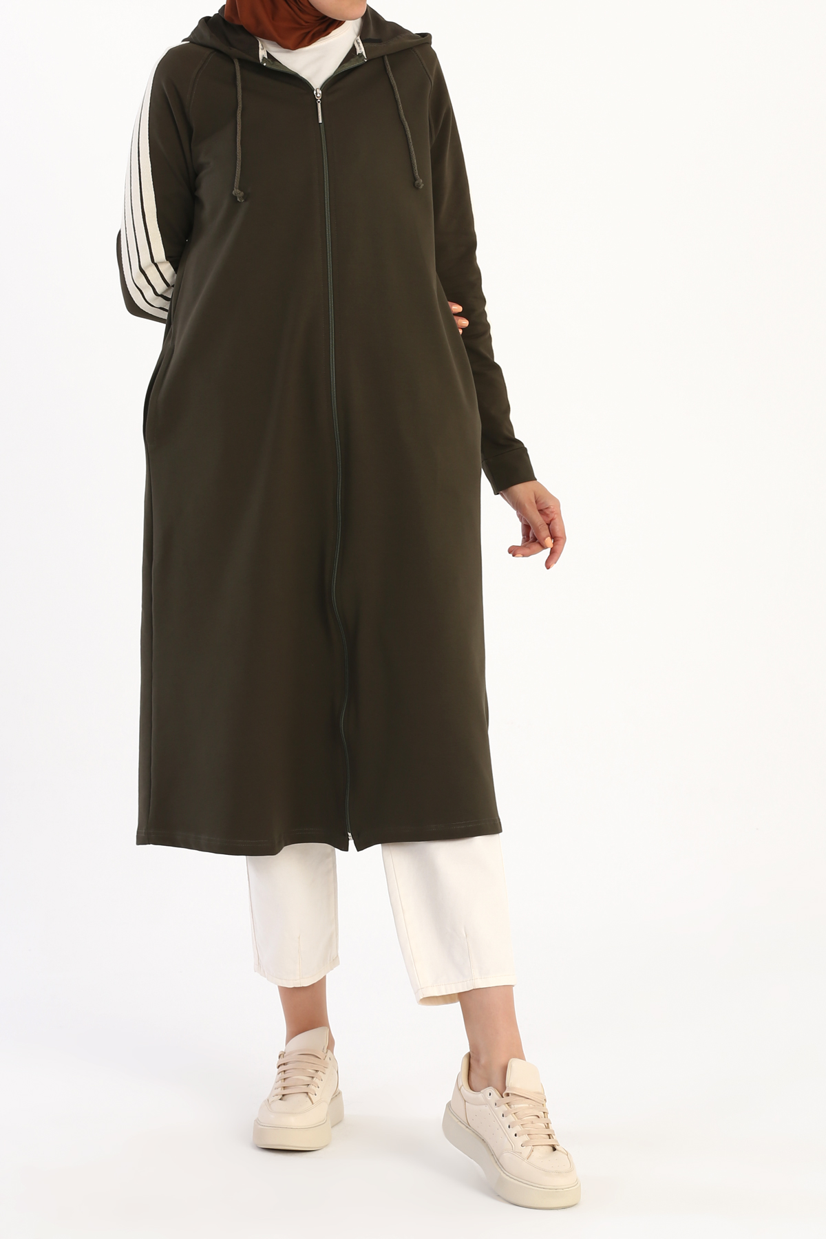 Sleeve Detailed Zipper Front Hooded Long Cardigan
