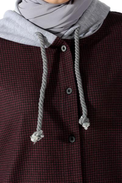 Kapüşonlu Önü Düğmeli Garnili Tunik
