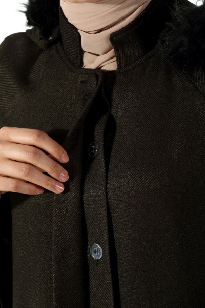 HOODED HIDDEN BUTTON TOPCOAT