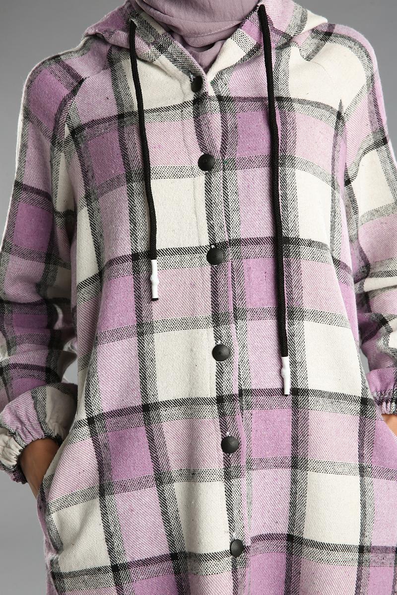 Kapüşonlu Kolları Büzgülü Cepli Gömlek Tunik