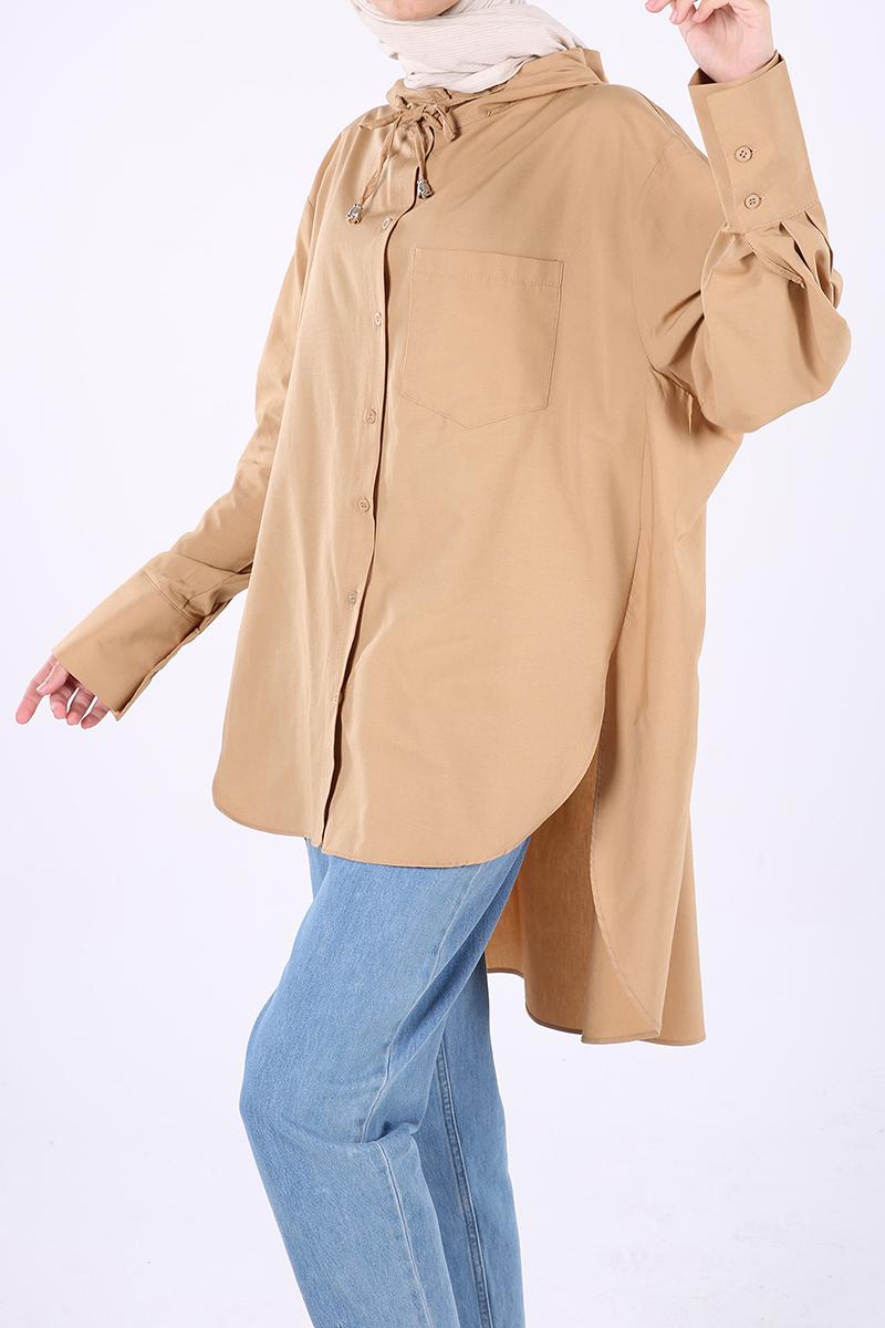 Kapüşonlu Cep Detaylı Salaş Gömlek Tunik