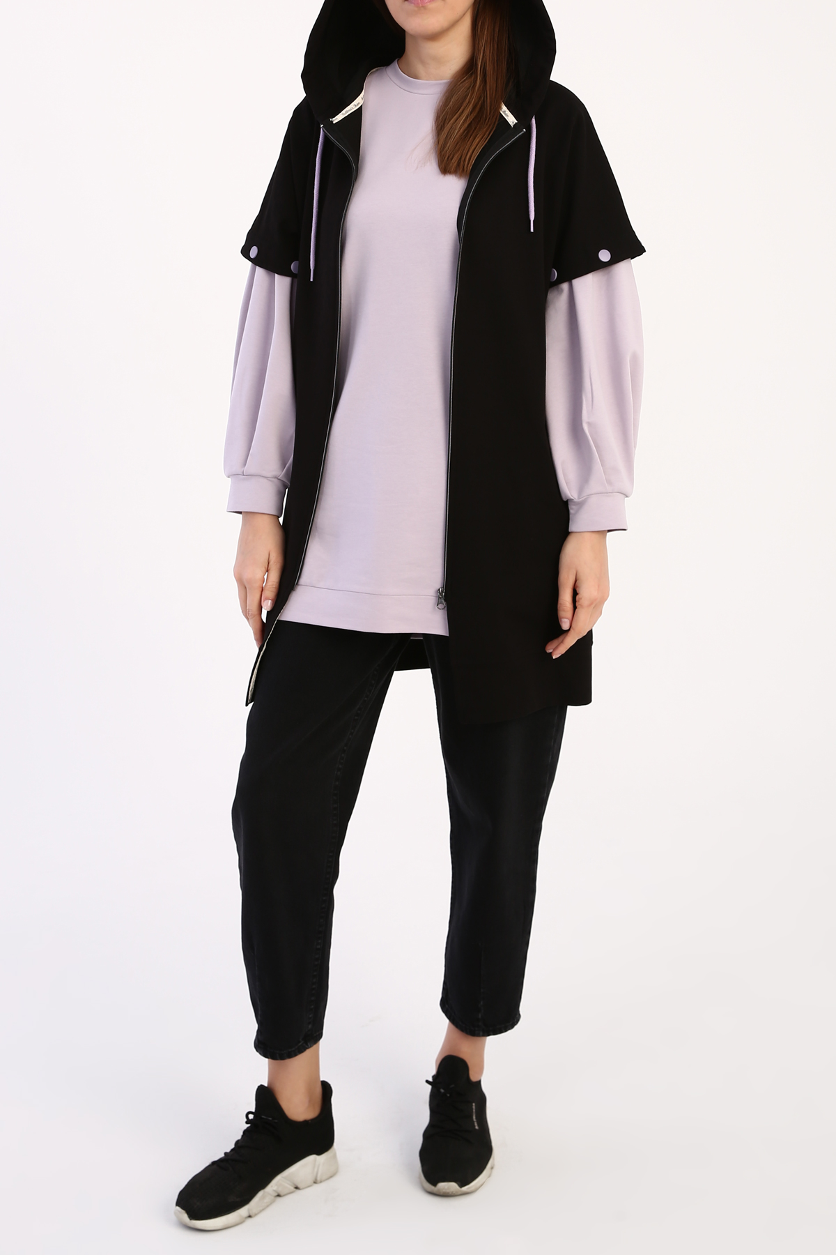 Removable Sleeve Hooded Cardigan