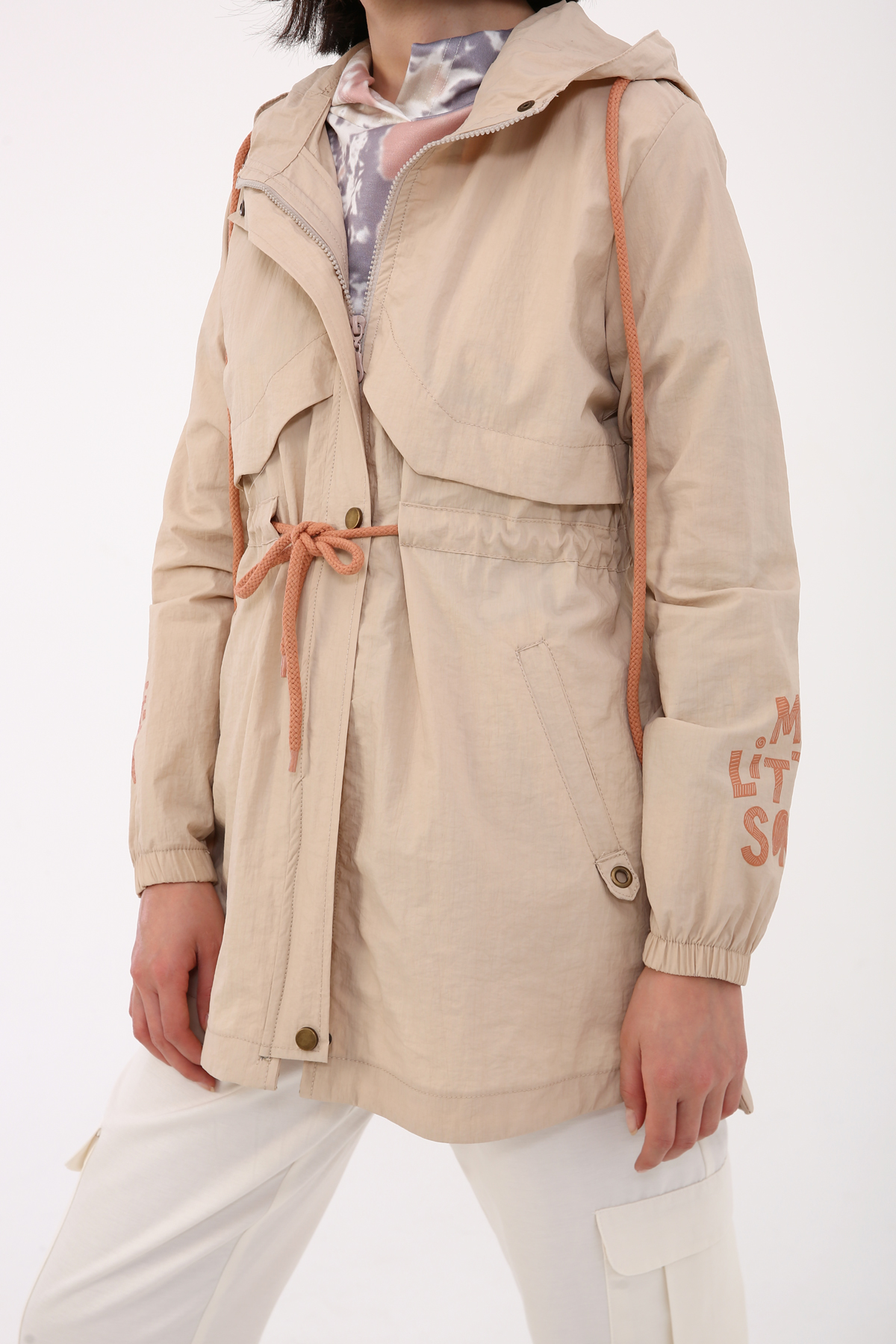 Hooded Fine Sleeve Detailed Jacket