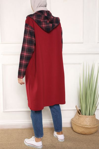 HOODED PLAID CAPE