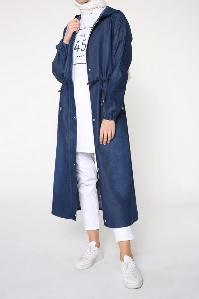 HOODED DENIM CAPE