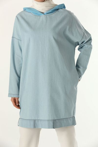 HOODED DENIM TUNIC