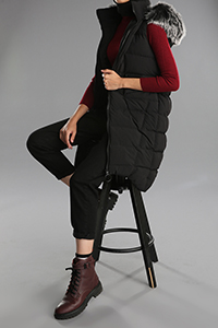 Hooded Pocket Fur Detail Vest