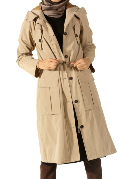 HOODED FURRY LINED TRENCHCOAT