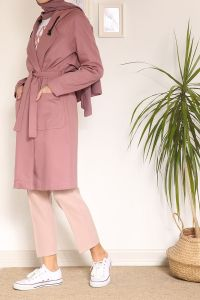 HOODED BELTED POCKET TRENCH COAT
