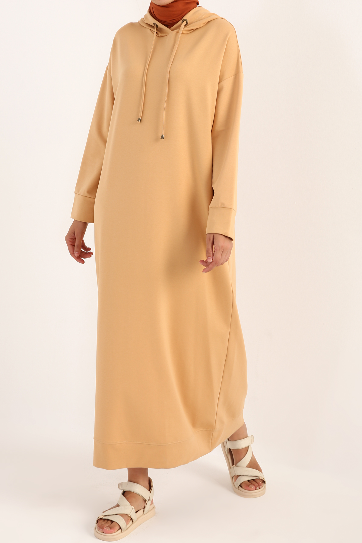 Basic Kapüşonlu Örme Pamuklu Elbise