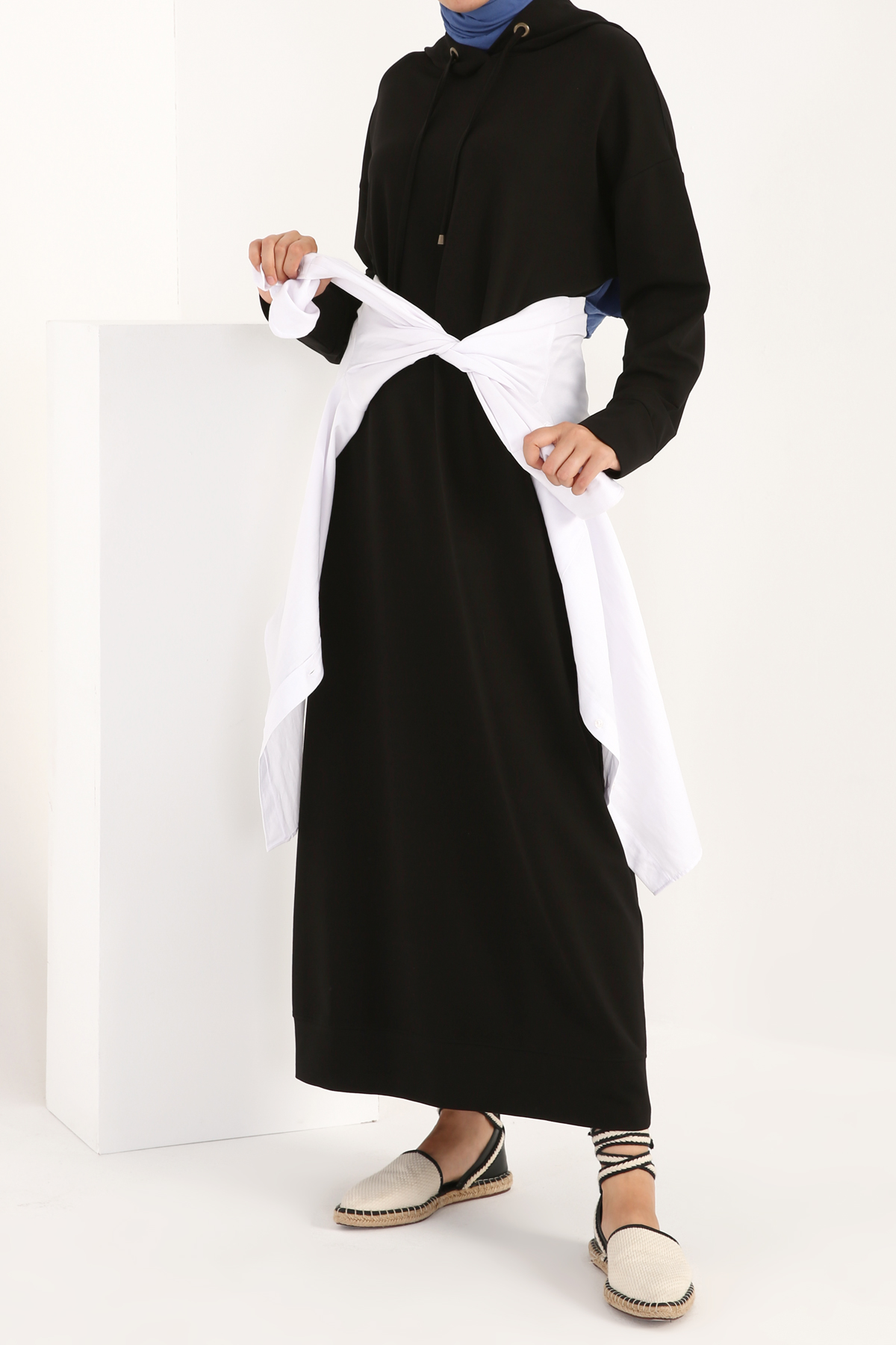 Hooded Cotton Maxi Dress