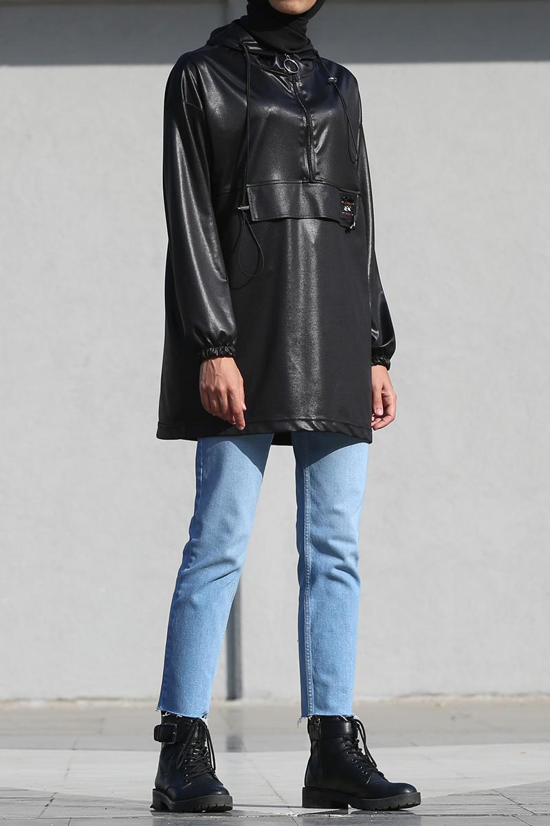 Kolları Büzgülü Bağcıklı Armalı Parlak Kumaş Sweatshirt
