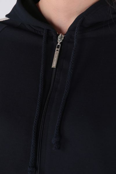 Kapüşonlu Kol Şeritli Cepli Penye Hırka