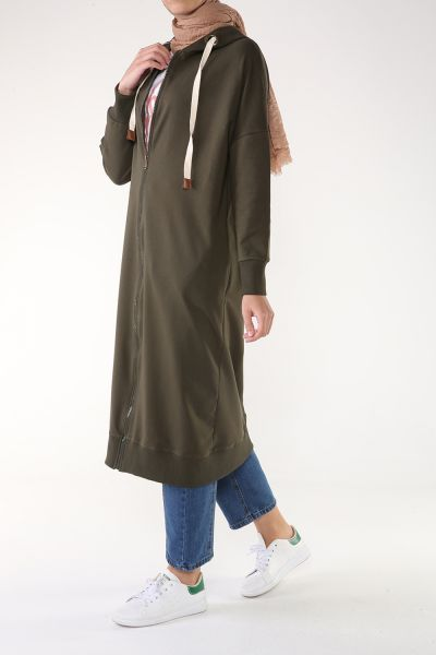 HOODED COMBED CARDIGAN