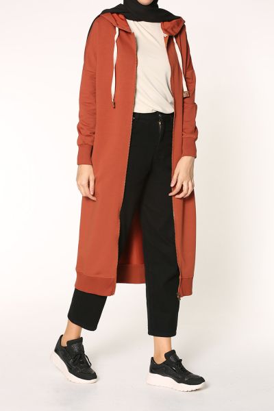 Hooded Zippered Combed Cotton Cardigan