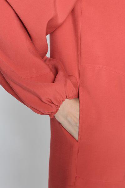 Kapüşonlu Düğmeli Cepli Sweat Tunik