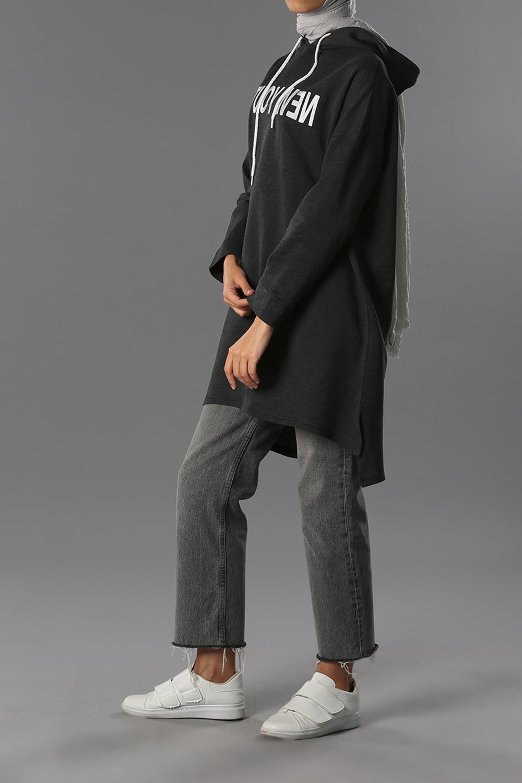 Hooded Embroidered Sweatshirt Tunic