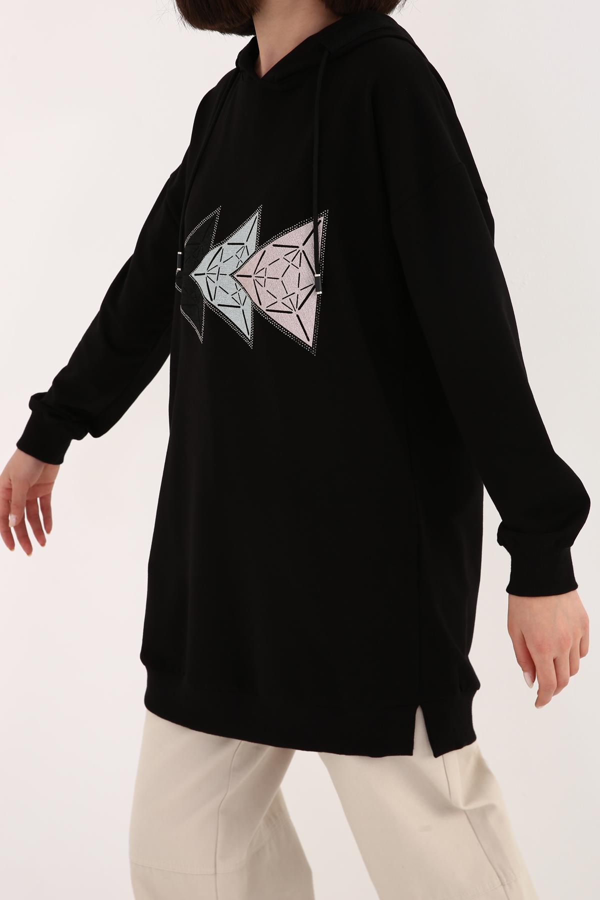 Printed Hooded Sweatshirt Tunic