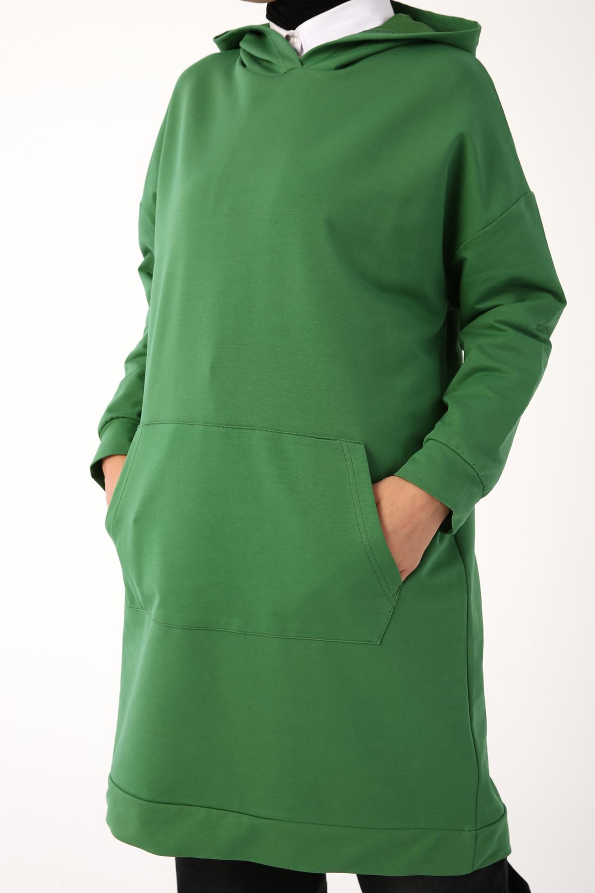 Hooded Kangaroo Pocket Sweatshirt Tunic