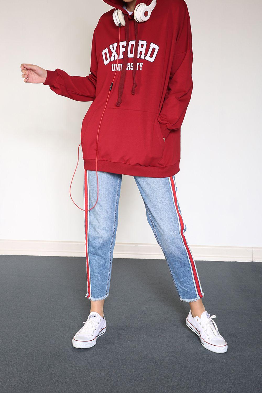 Yarece Kapüşonlu T-Kol Cepli Baskılı Sweatshirt