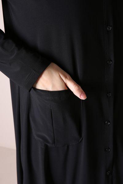 Kapüşonlu Düğmeli Tunik