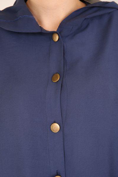 Kapüşonlu Düğmeli Cepli Tunik