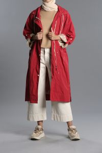 Belted Snap Button Zippered Raincoat