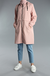 Hooded Zippered Pocket Raincoat