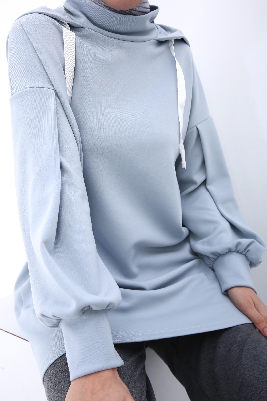 Hooded Printed Sweatshirt Tunic