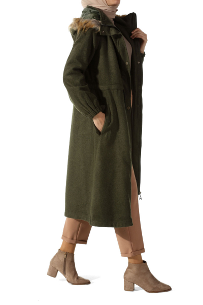 HOODED FURRY LINED COAT