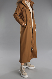 Hooded Furry Buttoned Pocket Coat