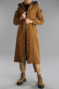 Hooded Pocket Zippered Buttoned Coat