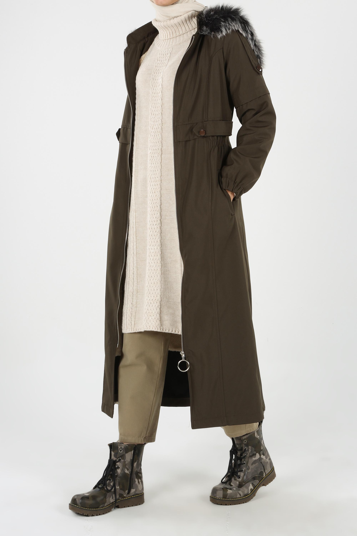 Hooded Fur Detail Coat