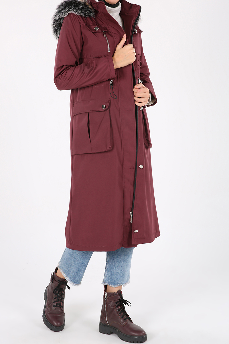 Hooded Furry Zippered Buttoned Coat