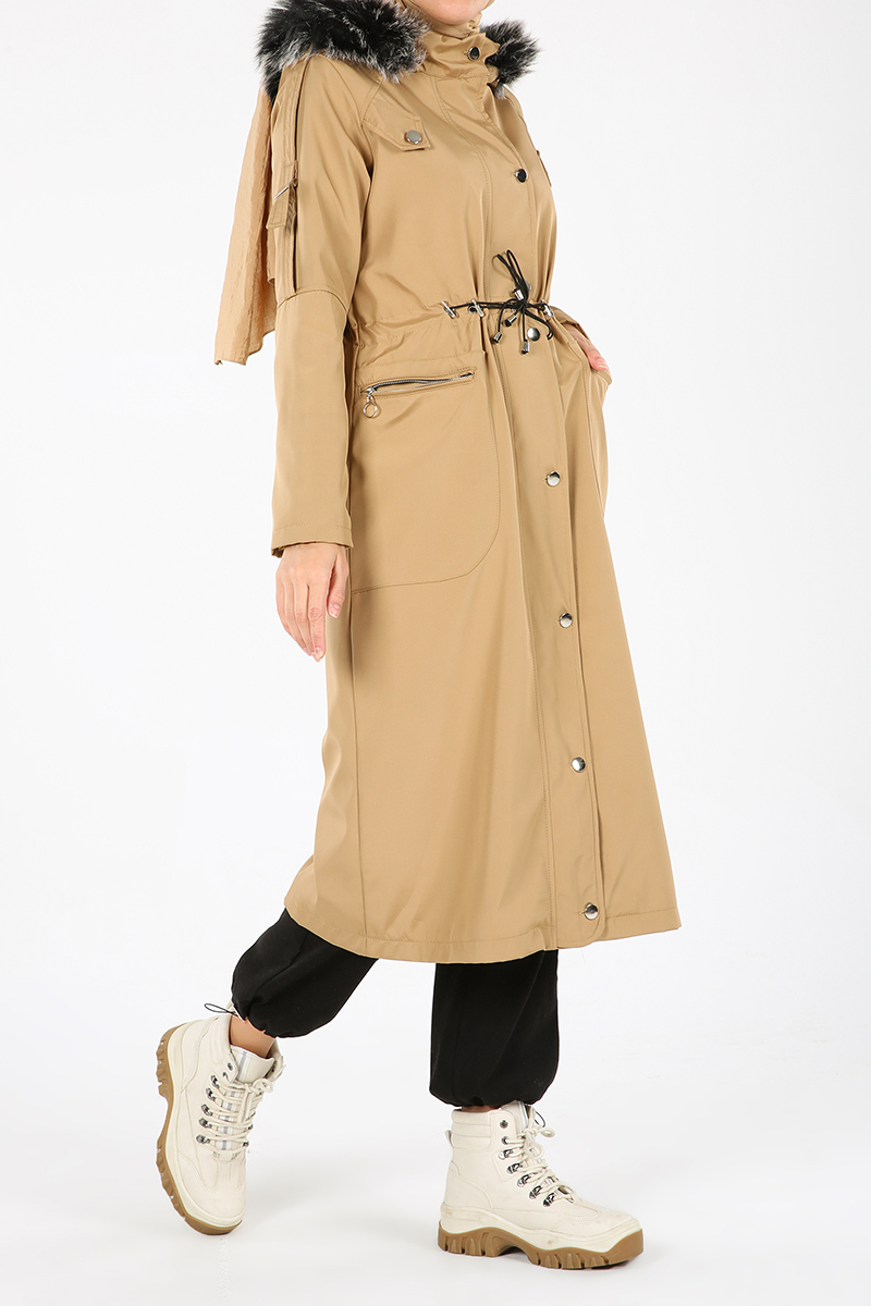 Elastic Waist Hooded Fur Detail Coat