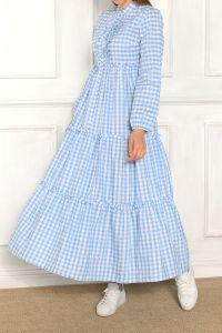 Kareli Düğmeli Elbise