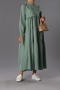 Kol Büzgülü Kat Kat Elbise - T61062